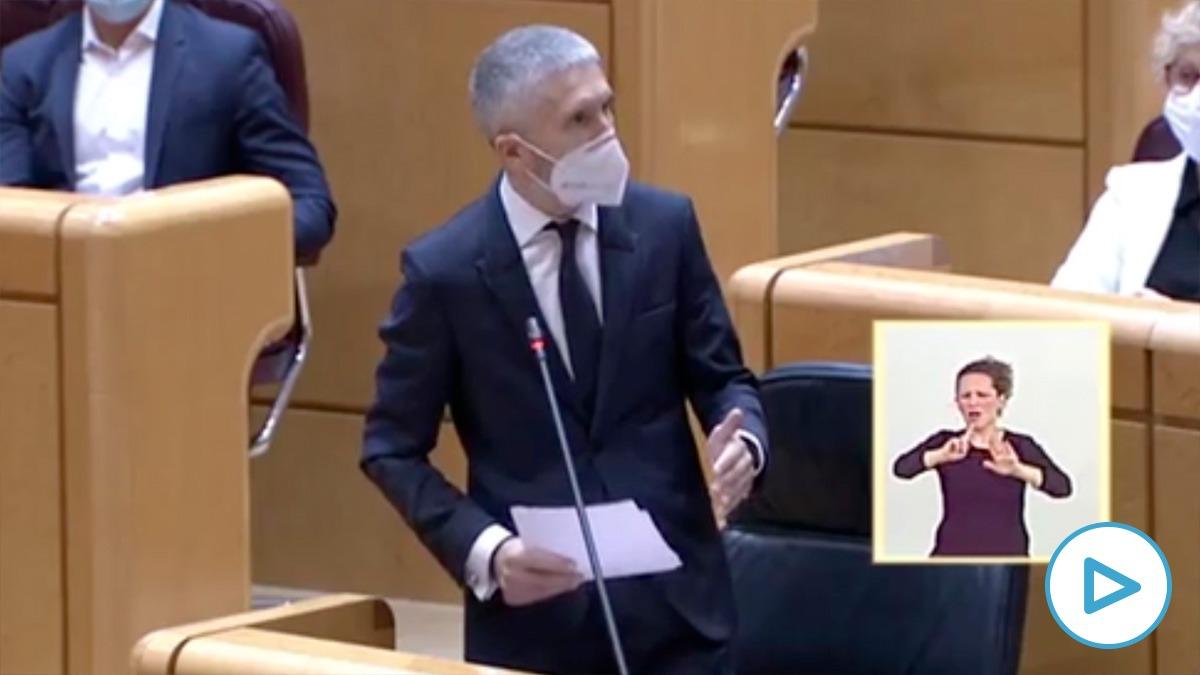 El ministro del Interior, Fernando Grande-Marlaska, este martes en el Senado.