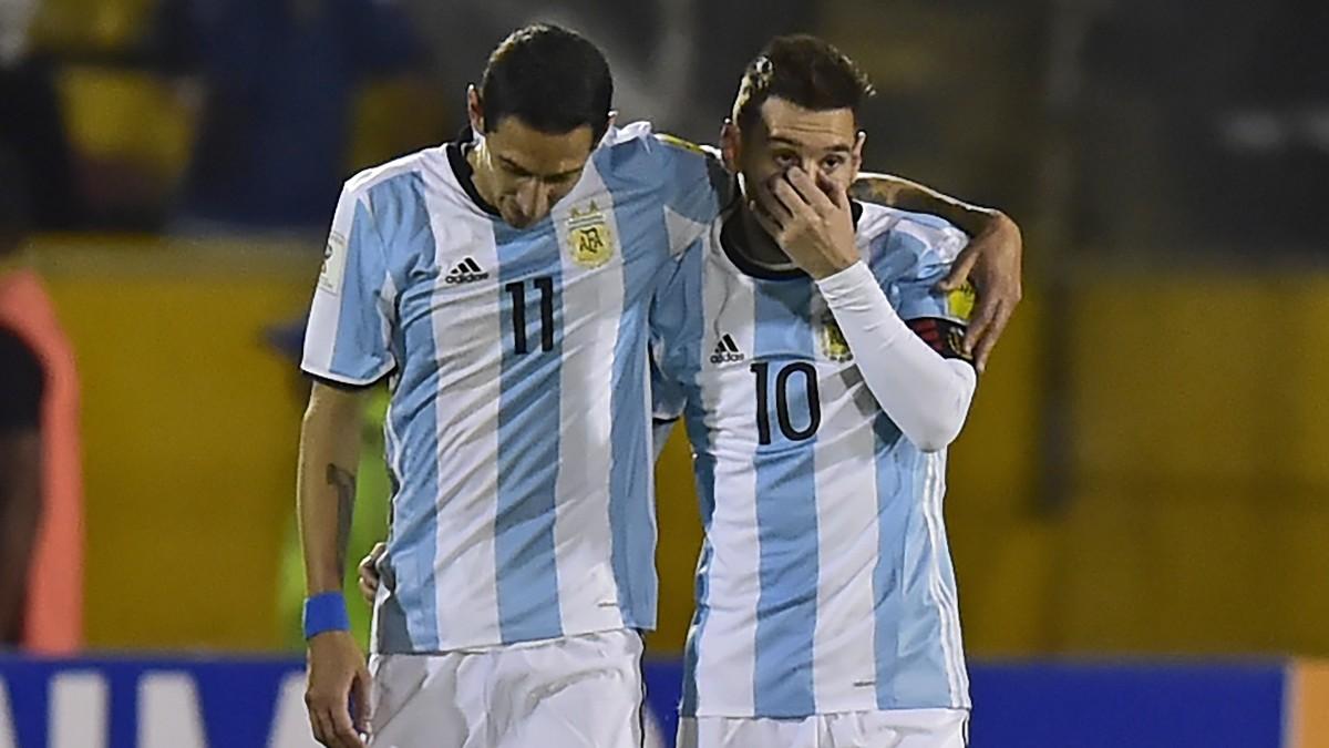 Di María y Messi, con la selección argentina. (AFP)