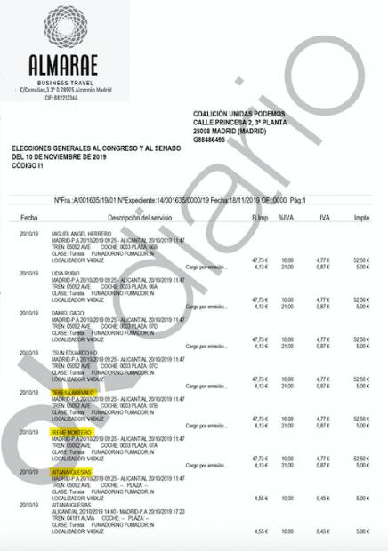 Documento que reflejan los viajes pagados por Podemos a Teresa Arévalo y a la hija de Pablo Iglesias e Irene Montero