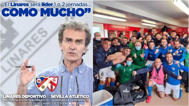 El cartel del Linares y el equipo celebrando un triunfo.