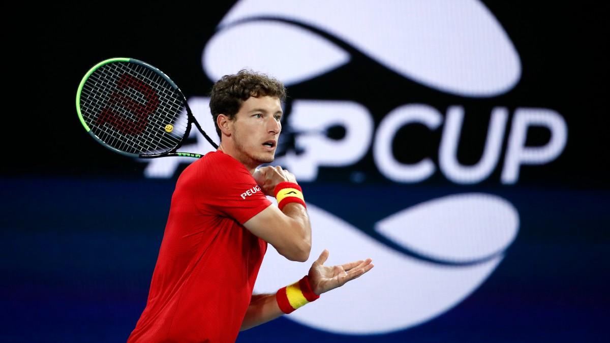 Pablo Carreño, en acción en la ATP Cup. (Getty)