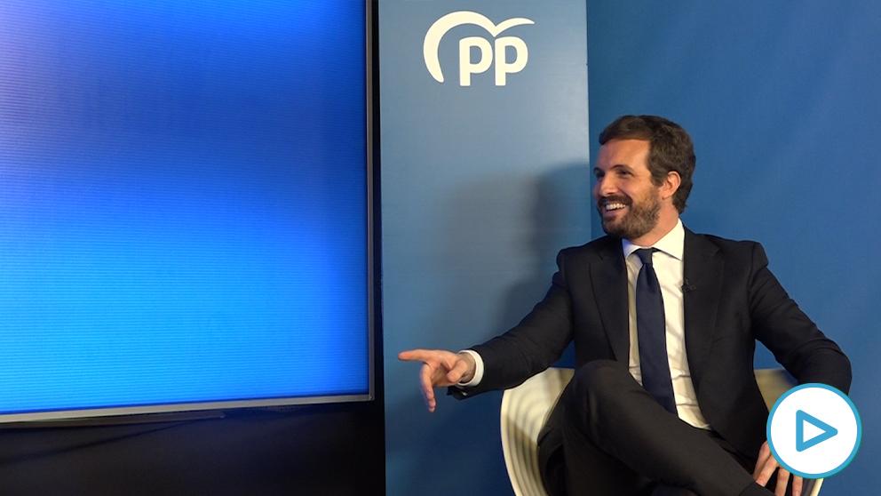Pablo Casado durante su entrevista Eduardo Inda.
