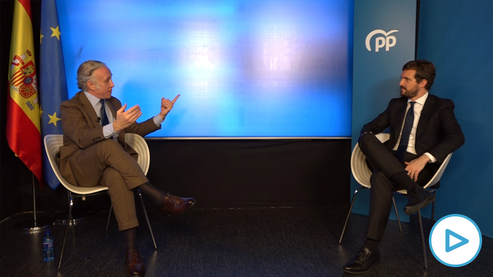 Pablo Casado durante su entrevista con Eduardo Inda.