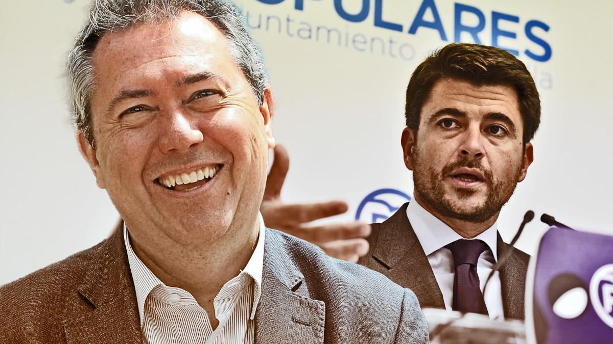 Beltrán Pérez (PP) y el alcalde de Sevilla, el socialista Juan Espadas.