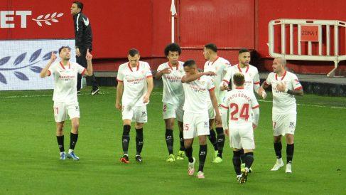 El Sevilla celebra un gol de Munir. (AFP)