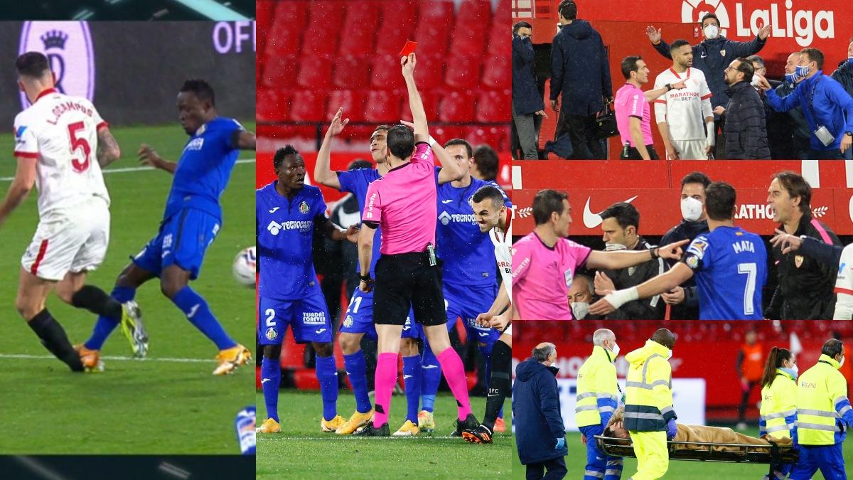 La entrada de Djené a Ocampos desató unos minutos de tensión en el Sevilla – Getafe.
