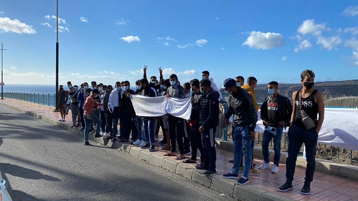 Protesta de inmigrantes en Gran Canaria.
