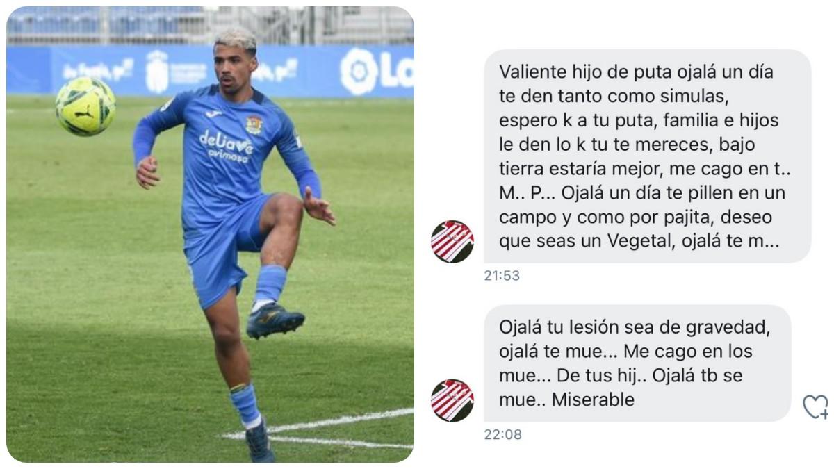 Un jugador del Fuenlabrada comparte las amenazas de un seguidor del Almería_ _Espero que a tu familia e hijos le den lo que se merecen_. (@isalva10)