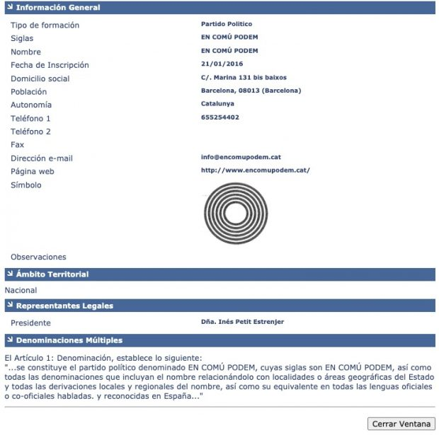 Ada Colau inscribió la marca En Común Podem en el Registro de Partidos del Ministerio del Interior el 21 de enero de 2016