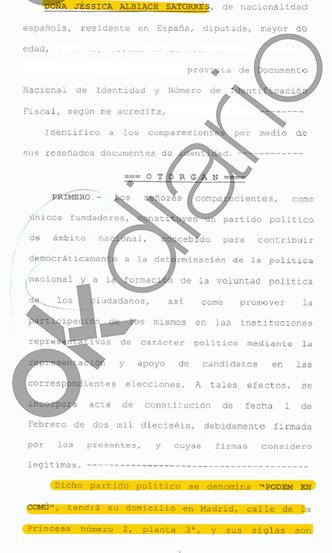 scrito presentado por Podemos para robar a Colau la marca de En Común Podem