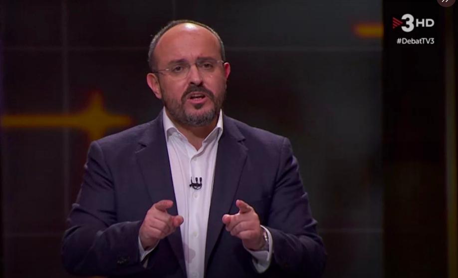 Alejandro Fernández, candidato del PP, este martes durante el debate en TV3