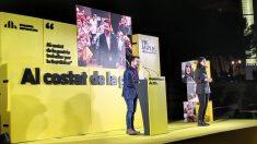 Pere Aragonès, en un mitin de campaña de Barcelona. – EUROPA PRESS