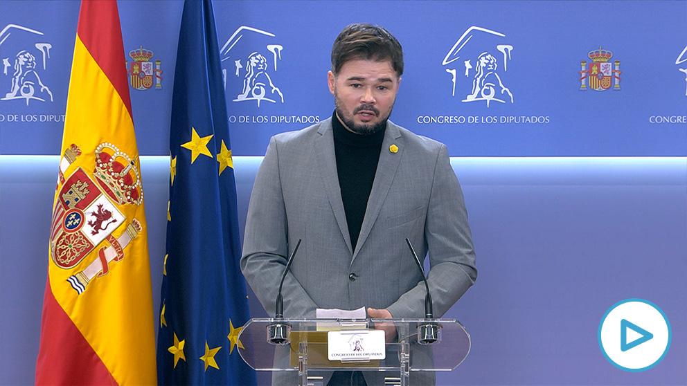 Gabriel Rufián al rescate de Pablo Iglesias: «Decir que España tiene carencias democráticas es una obviedad».