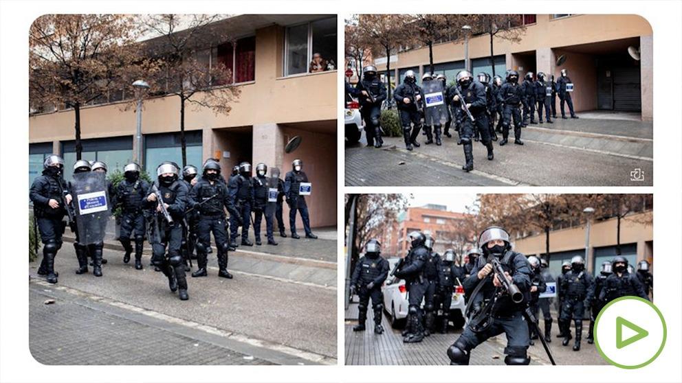 El fotoperiodista Joan Gálvez colgó en redes sociales el momento previo del disparo para denunciar la acción de los Mossos. (Foto @joangalvezfoto)