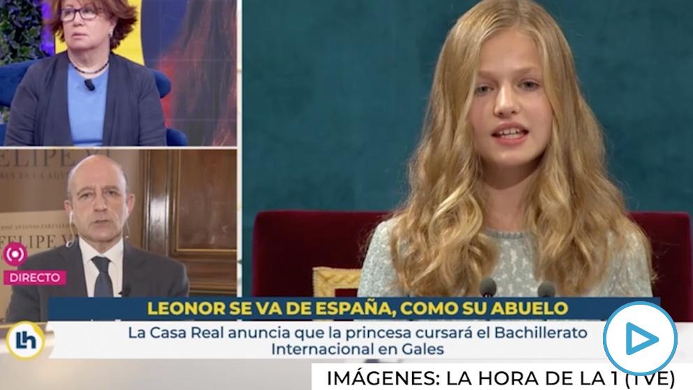 Captura de 'La hora de la 1' con el polémico rótulo sobre la Princesa de Asturias.