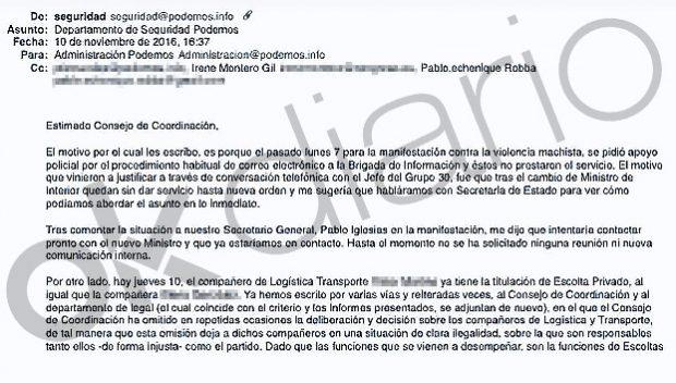 Podemos ocultó a su auditora el contrato de la escolta que Montero usaba como recadera y jardinera