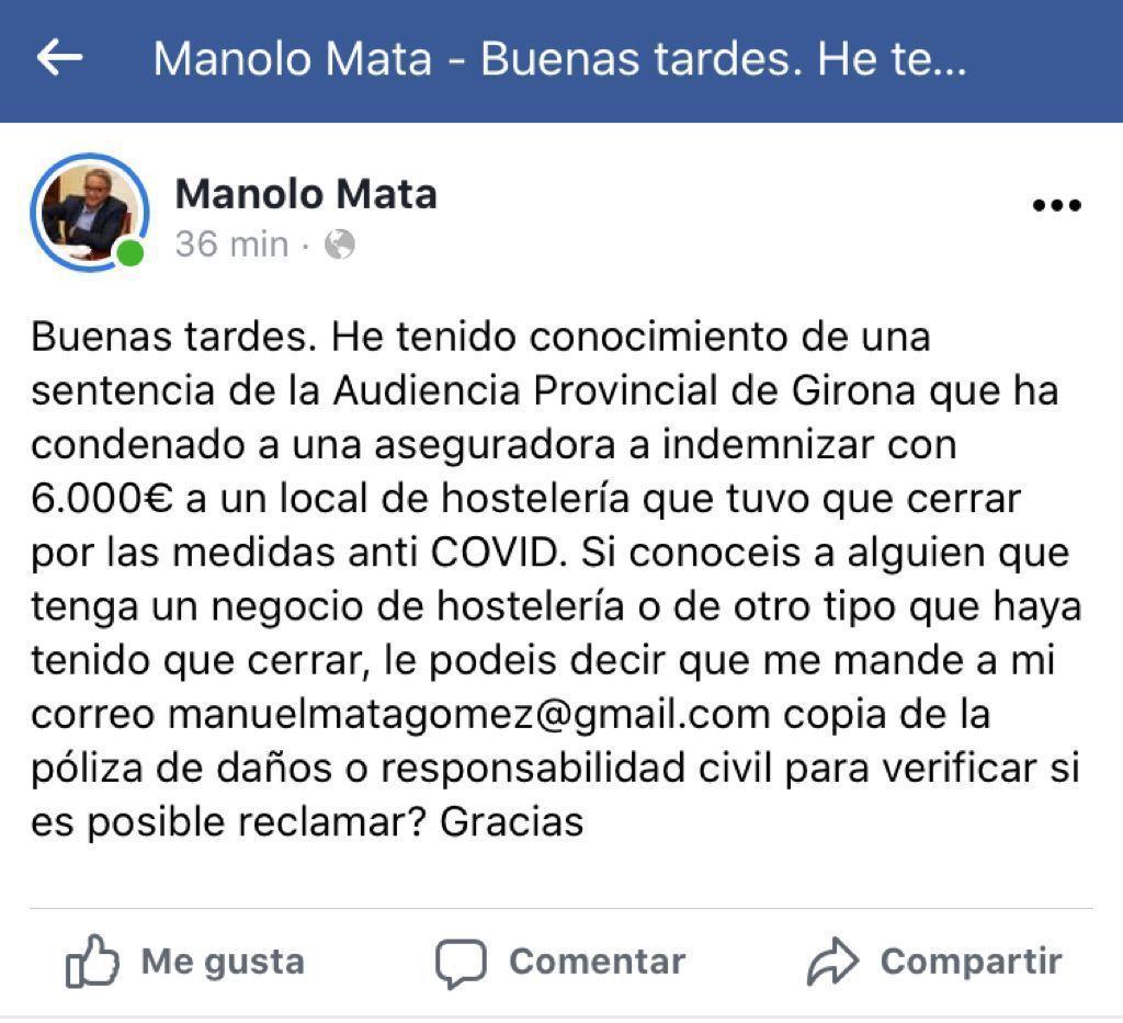 El nº 2 de Ximo Puig hace caja en su bufete con las reclamaciones de hosteleros por el cierre en Valencia