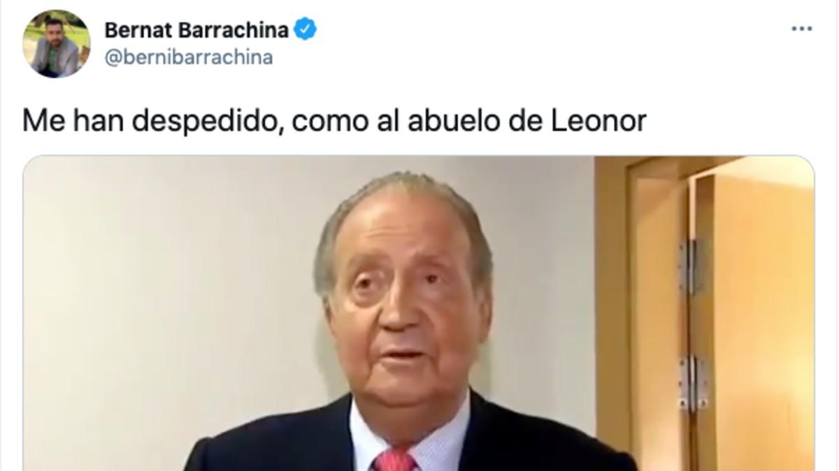 El tuit de Bernat Barrachina.