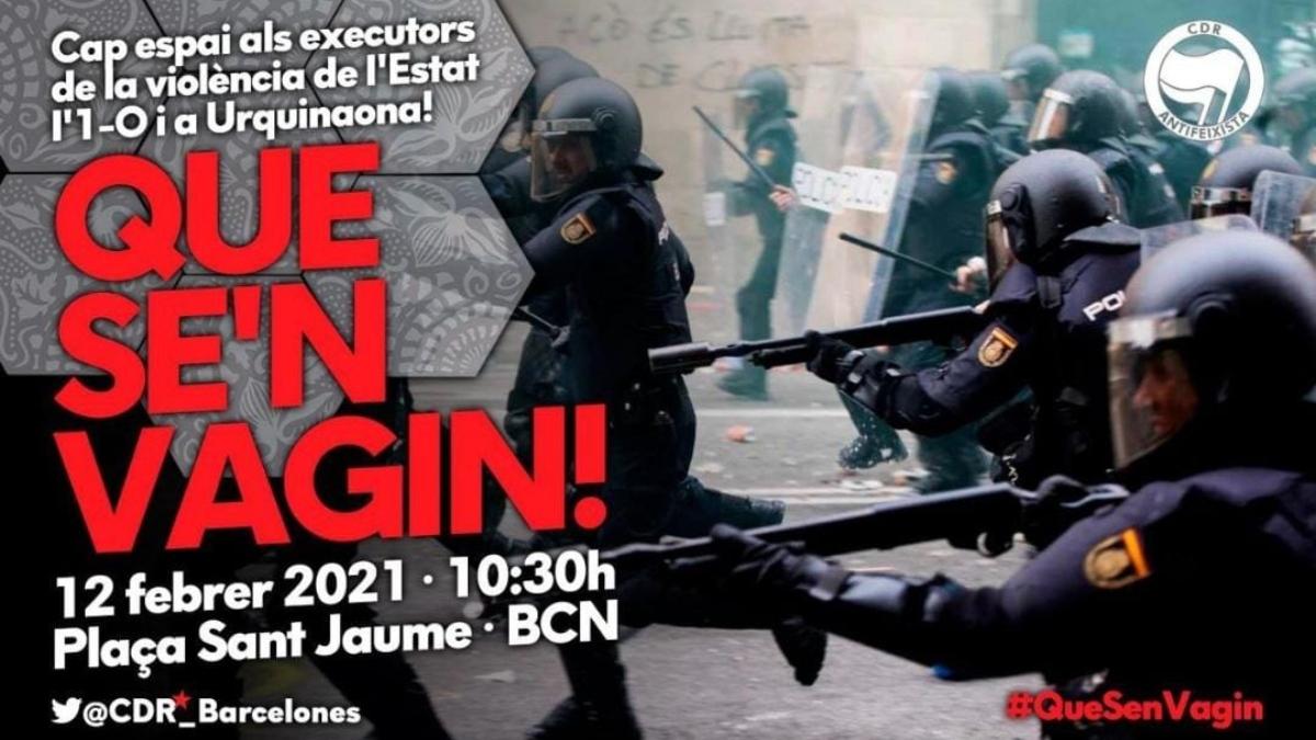 Convocatoria separatista contra la manifestación de policías y guardias civiles en Barcelona.