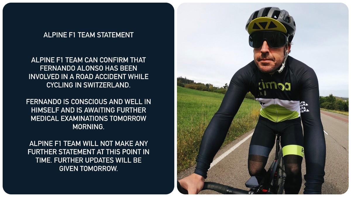 Fernando Alonso pasará la noche en el hospital.
