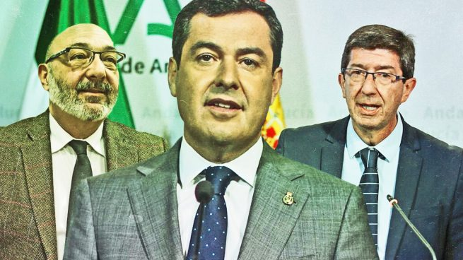 De izquierda a derecha, Alejandro Hernández (Vox), Juanma Moreno (PP) y Juan Marín (Cs).