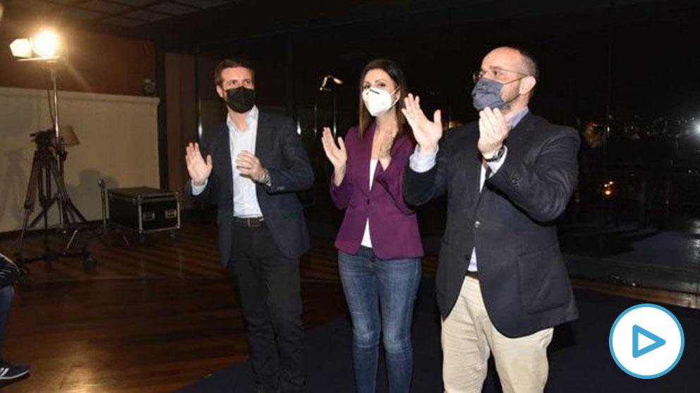 Pablo Casado, Alejandro Fernández y Laura Roldán. Foto: Europa Press