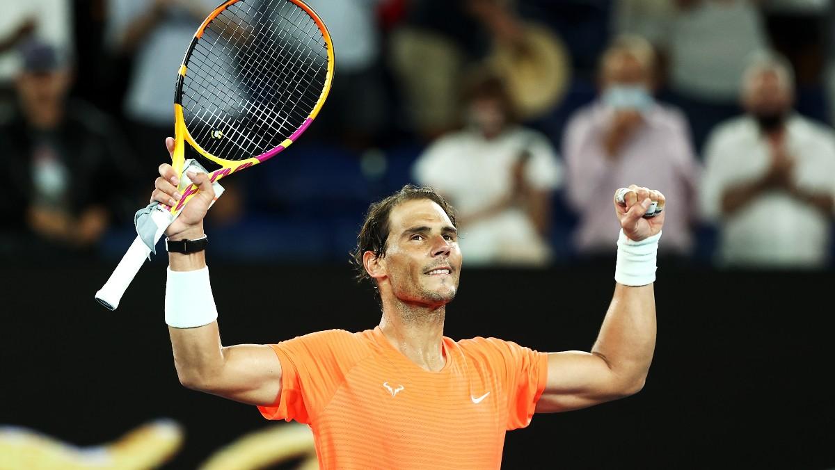 Nadal celebra una victoria en el Open de Australia. (Getty)