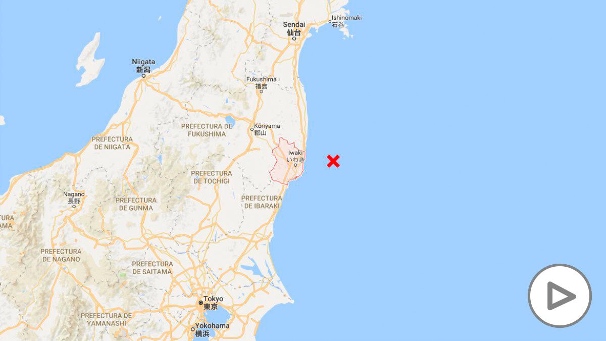 Zona donde se ha declarado el epicentro del terremoto, frente a Iwaki, en la prefectura de Fukushina.