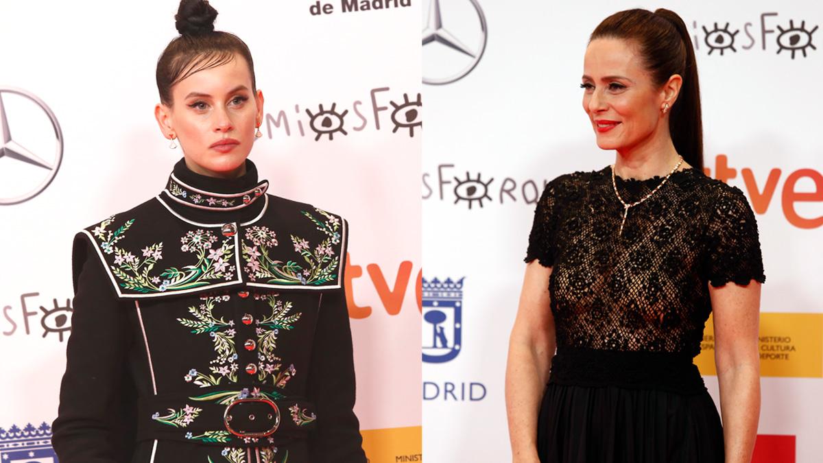 Las actrices Milena Smit, izqda, y Aitana Sánchez-Gijón, dcha, en la entrega de los Premios Forqué 2021 y que debutan este año como 'chicas Almodóvar'. Foto: EP