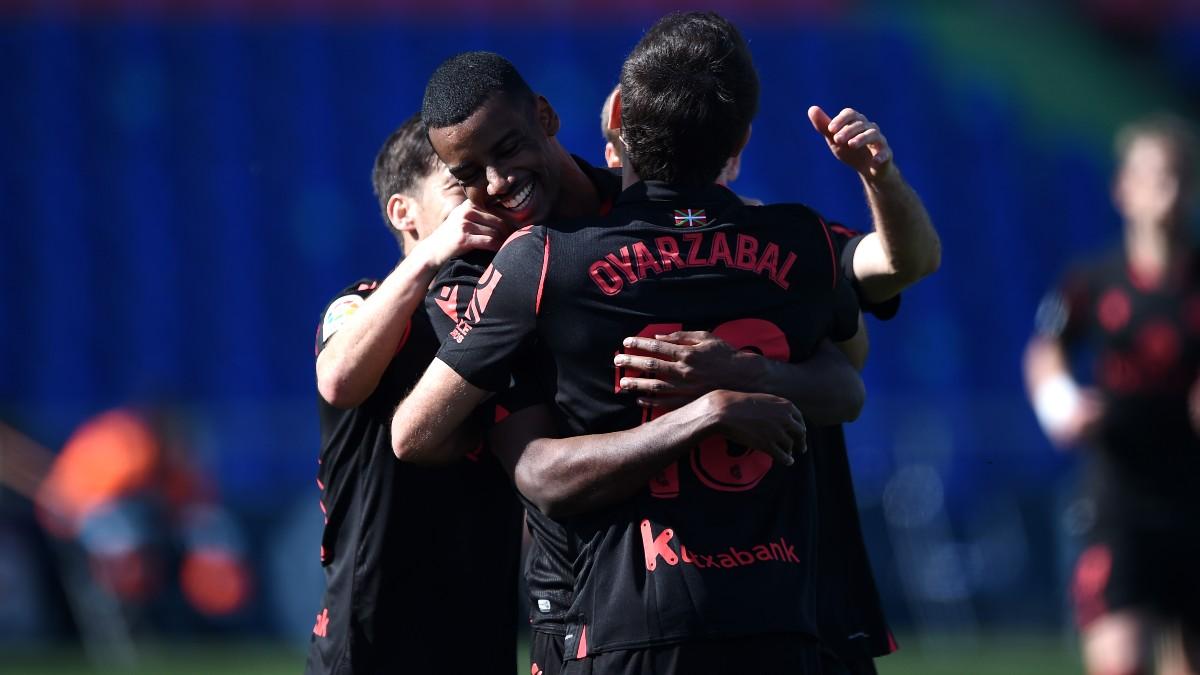 Isak celebra su gol en el Getafe-Real Sociedad. (Getty)