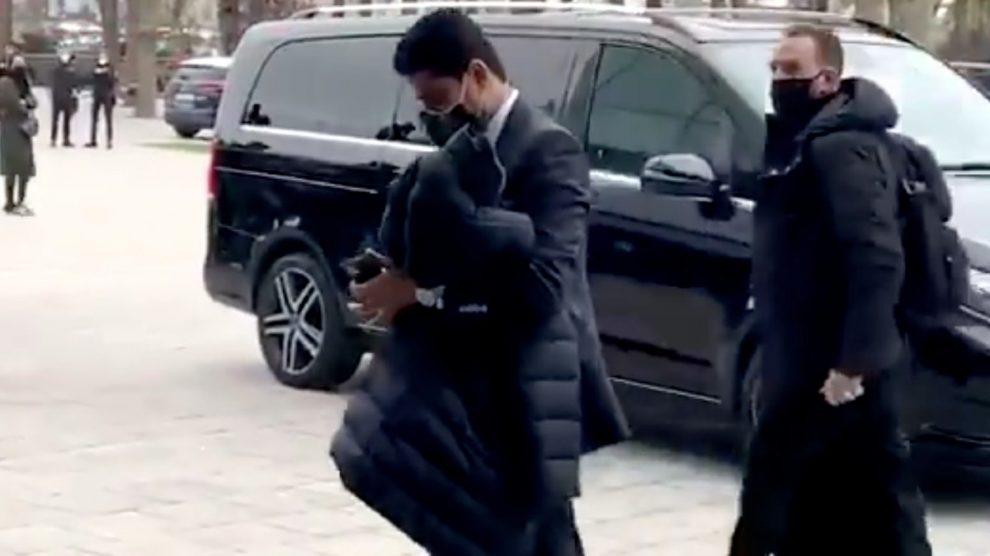 Al Khelaifi, a su llegada a Barcelona.