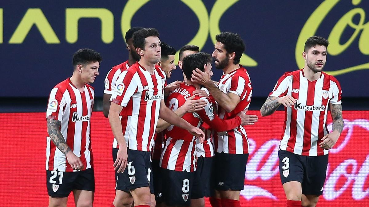 Los jugadores del Athletic celebran un tanto de esta temporada. (Getty)