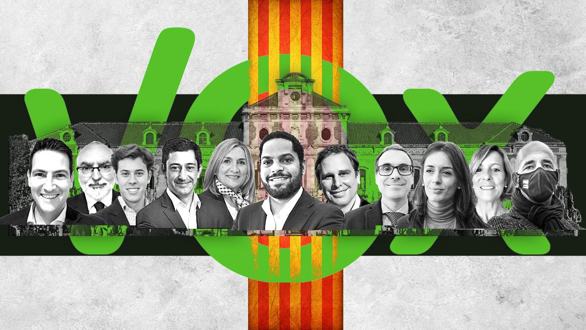 Los 11 diputados de Vox en el Parlament.