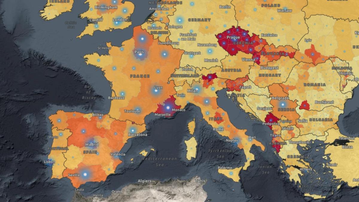Mapa de la evolución de la incidencia acumulada por el coronavirus en Europa (Fuente: OMS).