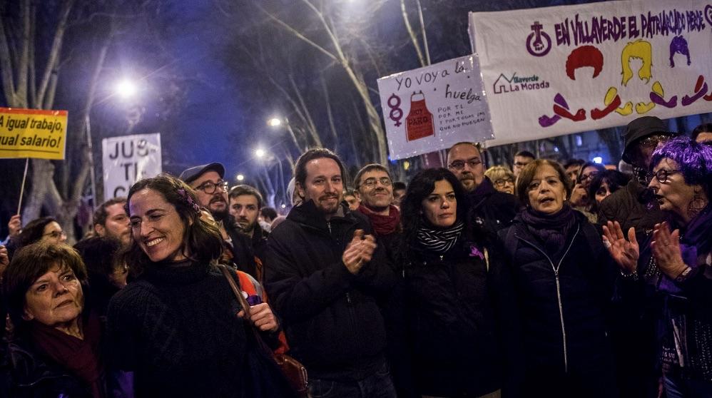 Pablo Iglesias en una manifestación del 8M. (Foto: Podemos)
