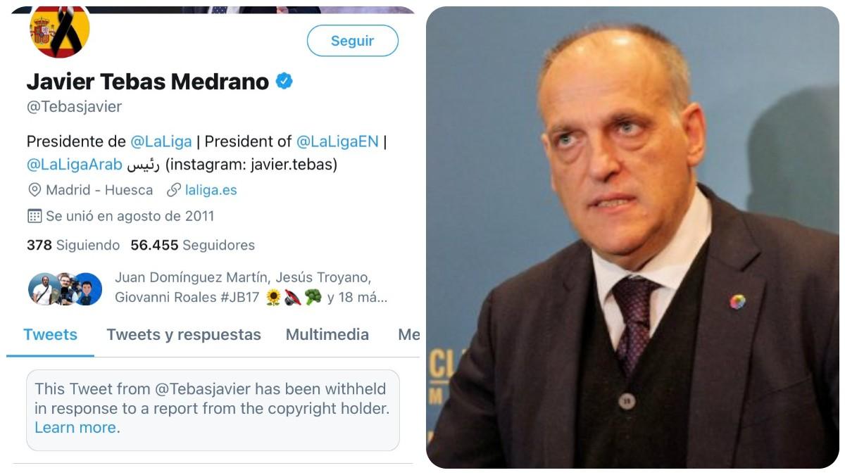 Javier Tebas fue denunciado y bloqueado en Twitter.