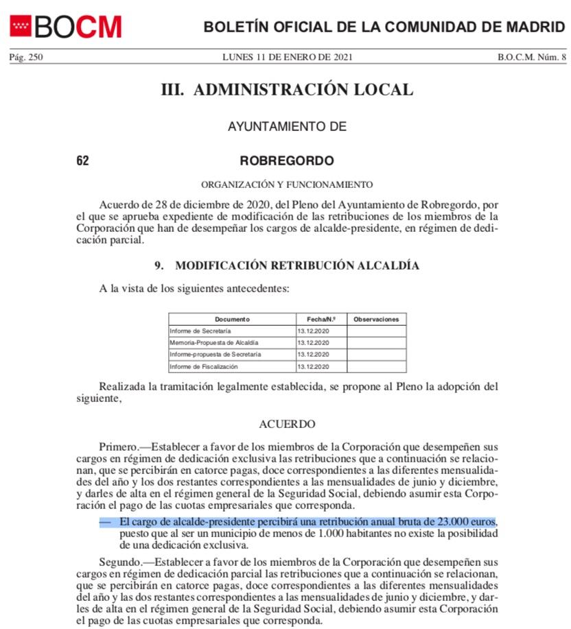 La alcaldesa socialista del pueblo más pequeño de Madrid se sube el sueldo un 64%