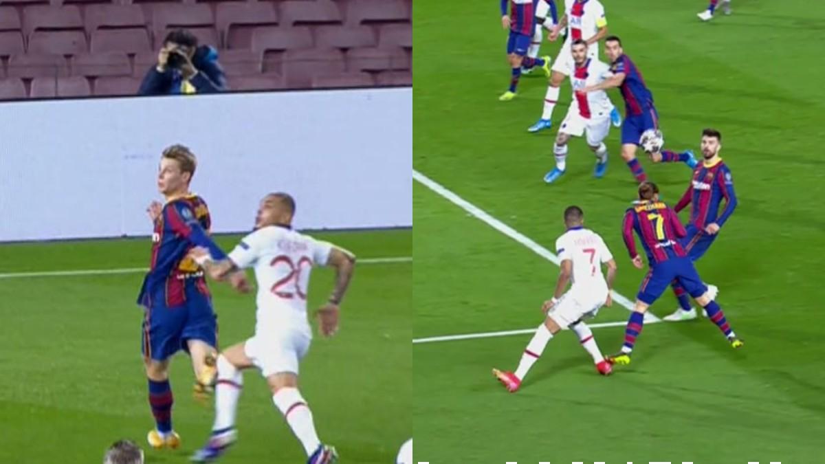 Las acciones de la polémica en el Barcelona-PSG.