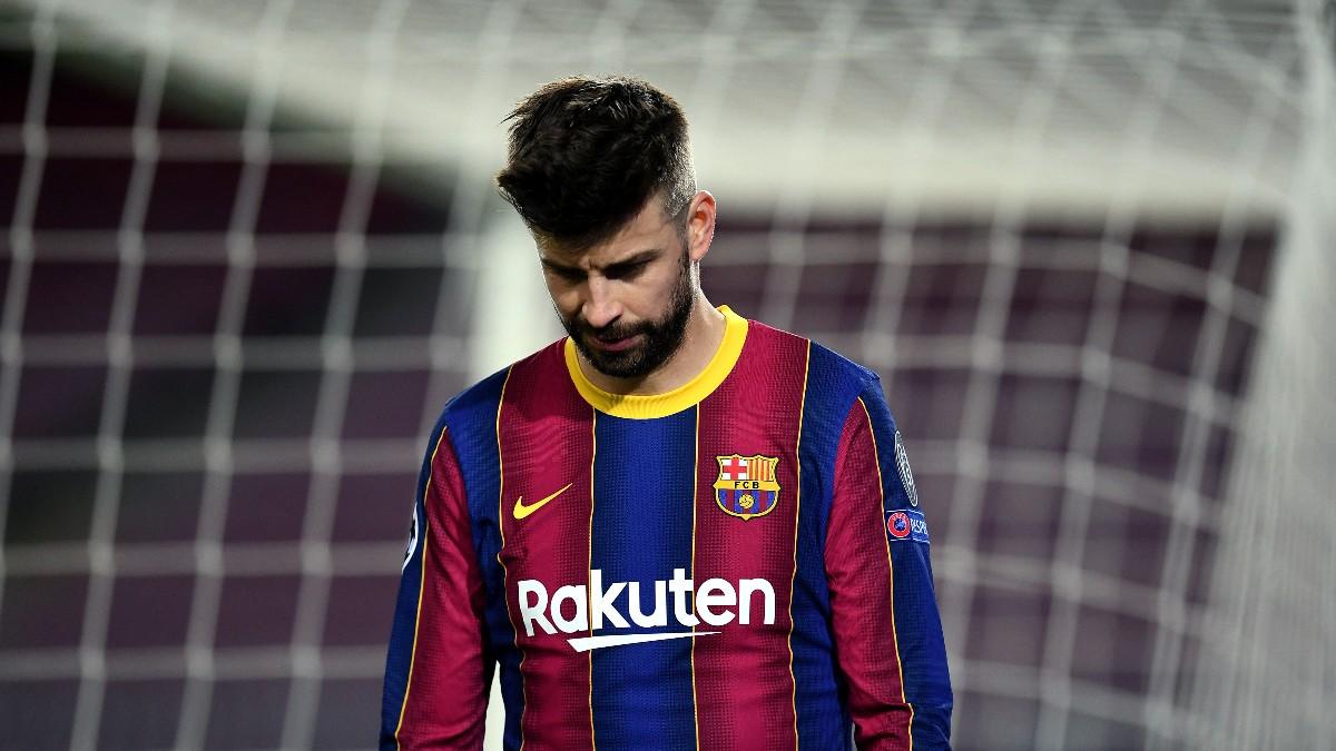 Piqué, durante un partido del Barcelona.(Getty)