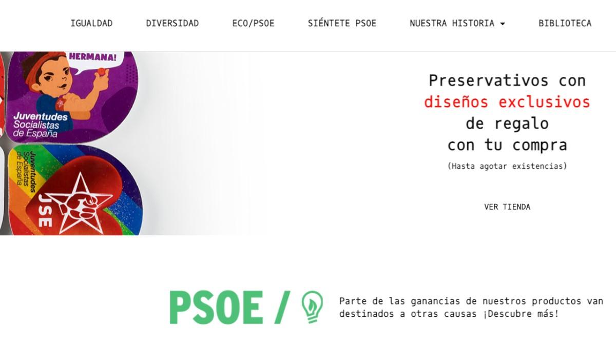 Los preservativos que regala el PSOE en su tienda.