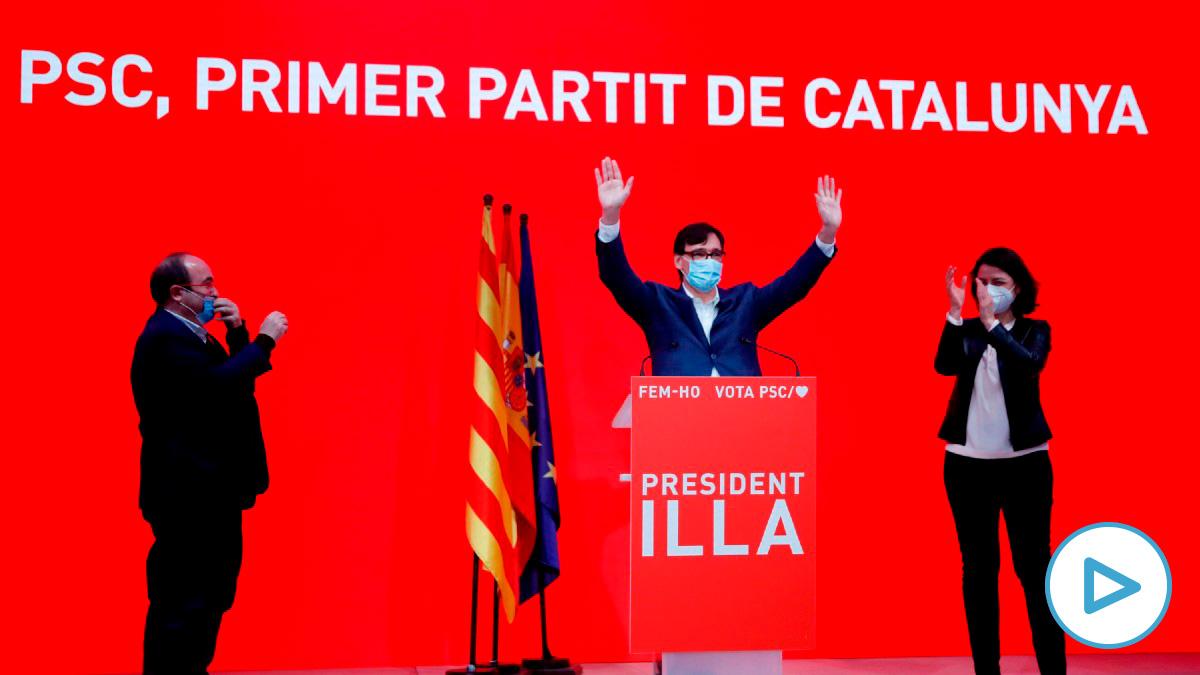El candidato a la Presidencia de la Generalitat por el PSC, Salvador Illa (c), tras los resultados del 14-F. (Foto: Efe)