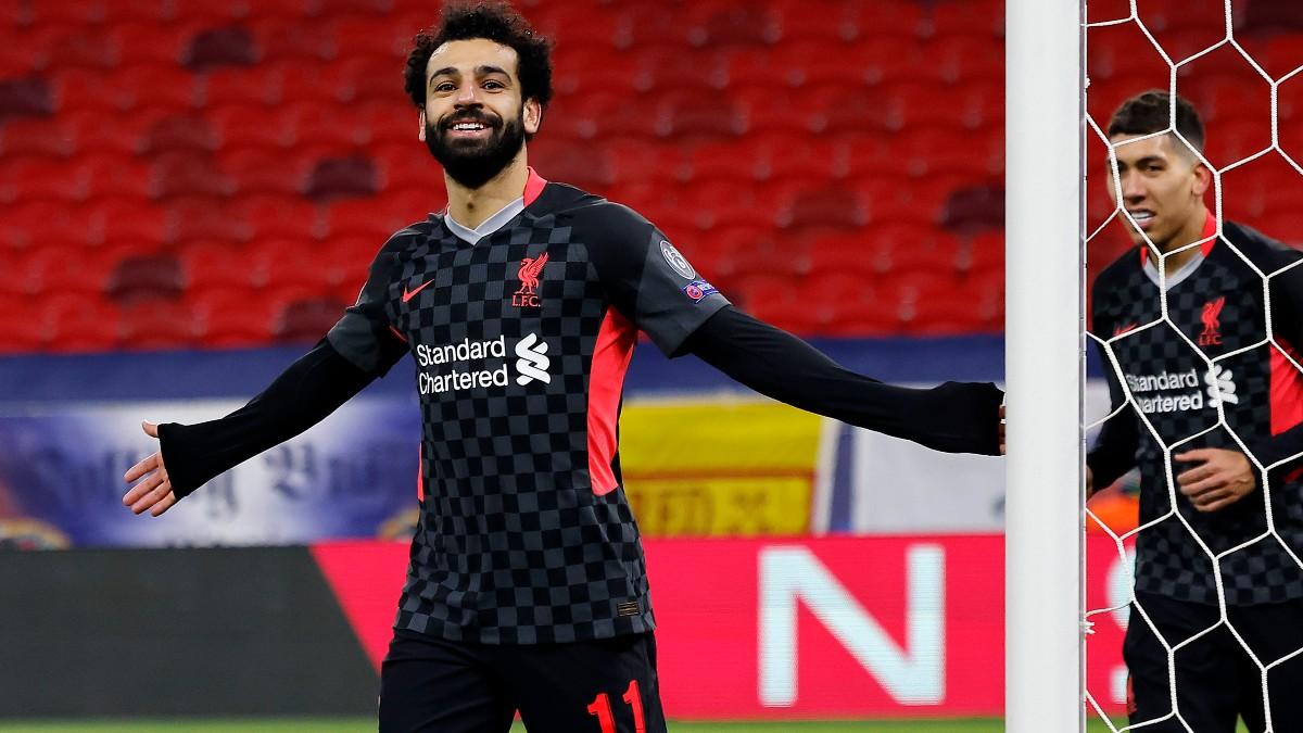 Salah celebra su gol al Liverpool.