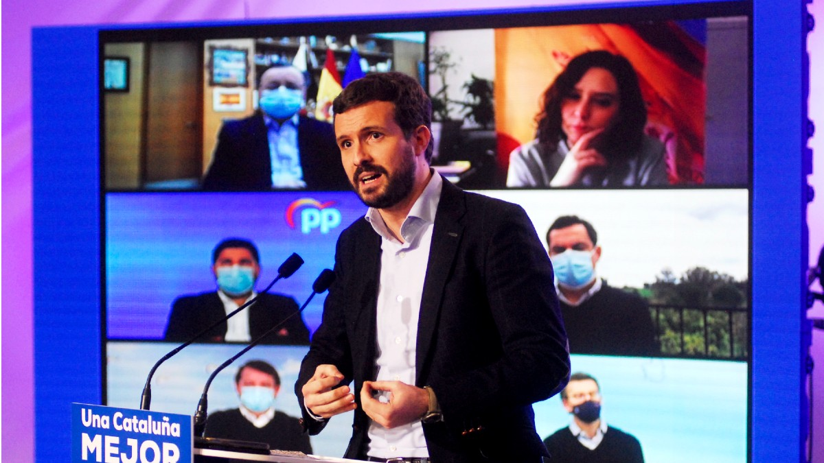 El presidente del Partido Popular, Pablo Casado, durante un acto electoral de los comicios catalanes del 14-F. (Foto: Europa Press)