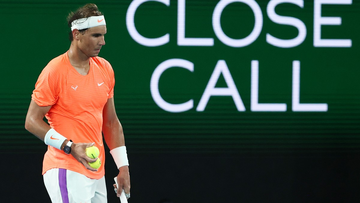 Rafael Nadal, en el partido ante Tsitsipas. (Getty)