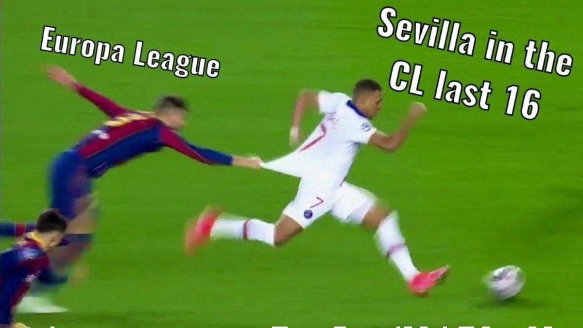 Meme que hizo del Sevilla sobre la famosa jugada de Piqué y Mbappé. (@SevillaFC_ENG)