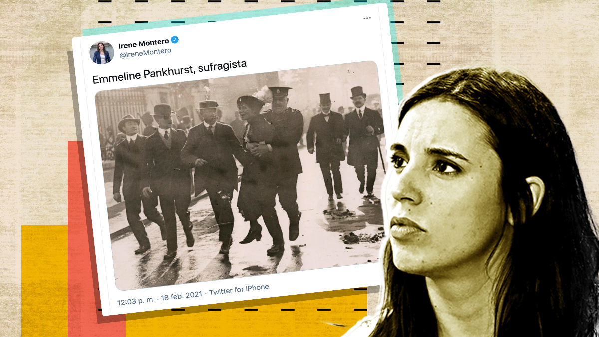 Irene Montero y su tuit asemejando a Hasél con la sufragista Emmeline Pankhurst.