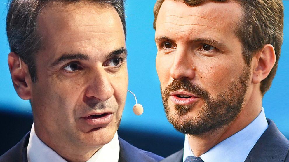 El primer ministro de Grecia, Kyriakos Mitsotakis, y el líder del PP, Pablo Casado.