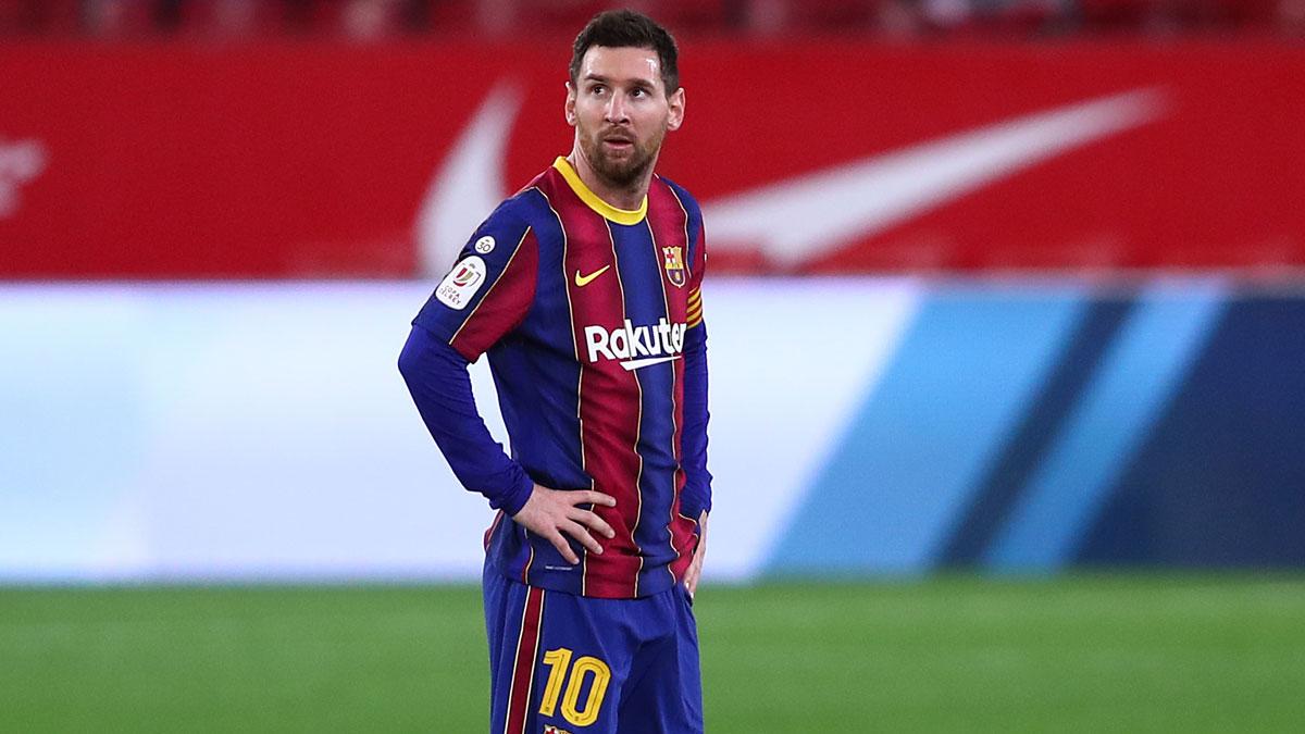 Leo Messi, durante un encuentro con el Barcelona (Getty)