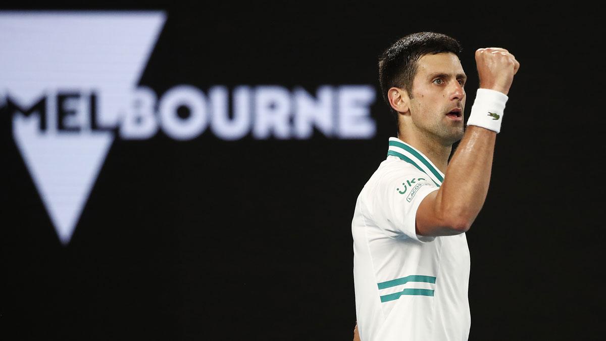 Djokovic celebra su victoria en el Open de Australia (Getty)