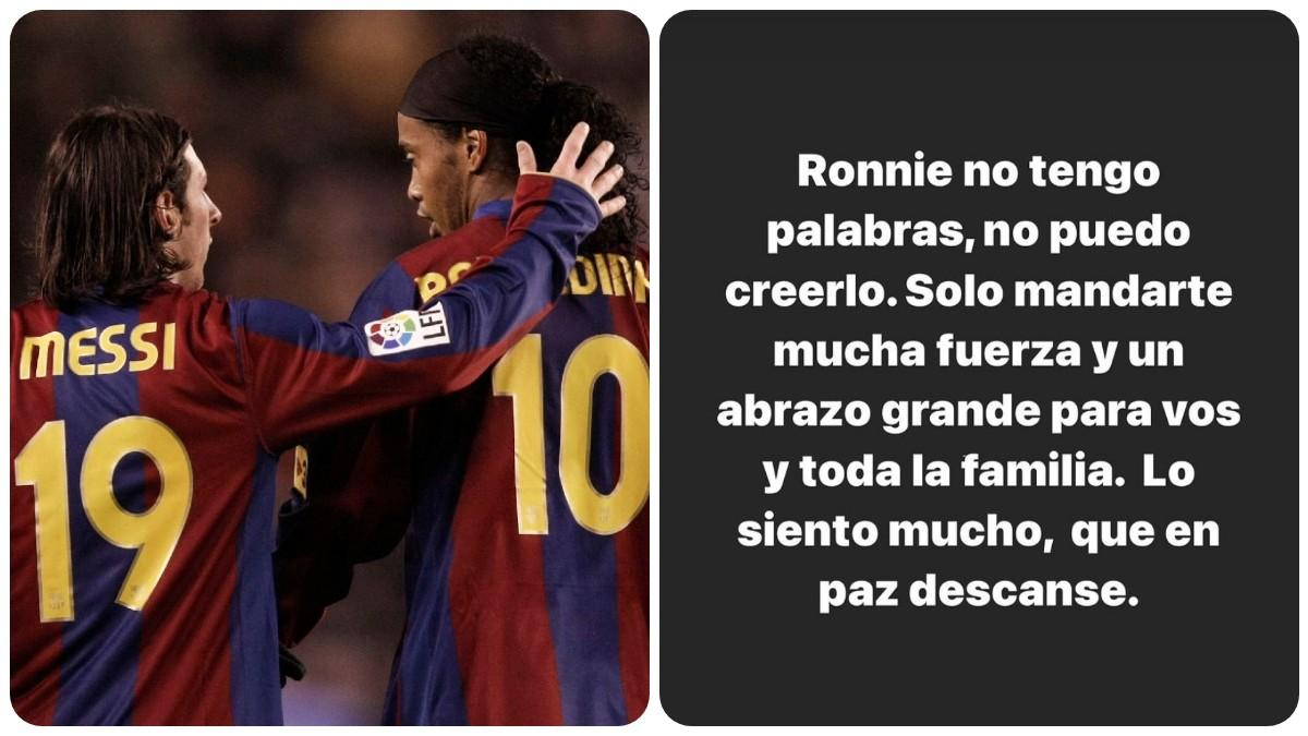 El detallazo de Messi con Ronaldinho tras la muerte de su madre. (Getty)